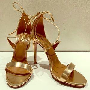 Aquazzura Linda 105 Gold Sandals